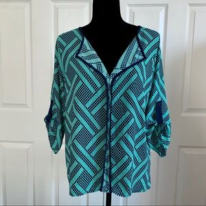 Dina Be Teal and Navy Geometric Blouse